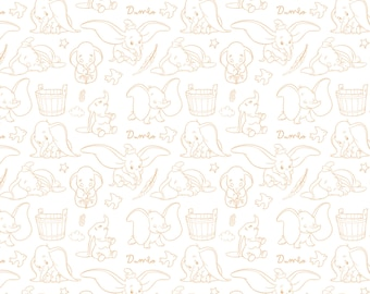 Disney, Dumbo, yellow, silhouette, 85160105, col 2, Camelot Fabrics, 100% Cotton, quilt cotton