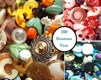 100 boutons, 2 holes, 4 holes, rod, childish, chic, lucite, celluloid, metal, bundle buttons, economic, best deal, BF200