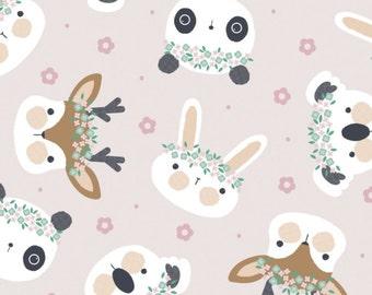 Rabbit, Floral Menagerie, 21192302, col 02, Camelot Fabrics, 100% Cotton