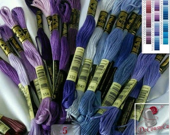 50%, Violet, Blue, 10 Embroidery, thread, DMC, Mouliné 25, art 117 No. 25,