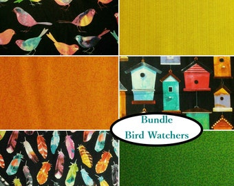 6 FQ, 1/4 yard, 1/2 yard, 1 of each, Bird Watchers, 100% cotton