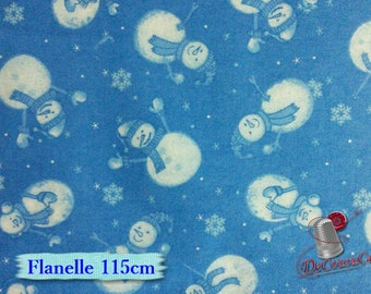 Flannel, Snowman, blue, many yards will be cut as one piece, Flannel 100% high quality cotton