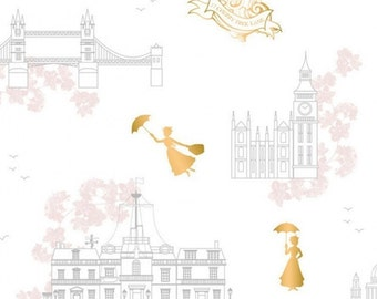 Mary Poppins, gold metallic, white, 85460102L, col 01, Camelot Fabrics, cotton, cotton quilt, cotton designer