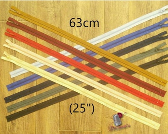 63cm, zipper, #3, (25 inchs), varied color, nylon, perfect for clothing, repair, creation, Z63