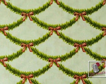 Festive garland, cream. green. red,  Michael Miller Fabrics, 6341, Michael Miller Fabrics, 100% Cotton