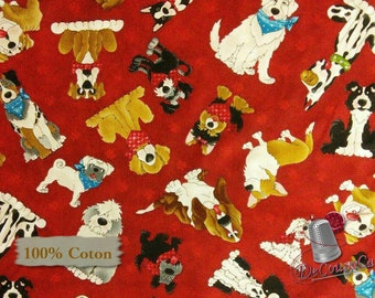 Dog, Henry Glass & Co, multiple quantity cut in one piece, 100% Cotton,  (Reg 3.99 - 17.99)