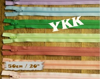 2 YKK, 50cm, 2 zipper, #3, 20 inchs, varied color, nylon, perfect for wallets, clothing, repair, creation, Z50