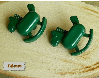 2 Buttons, 18mm, Horse, green, Vintage, 1980s, Basic Button, Solid Button, GR04