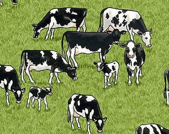 Cow, Village Life, 2293, Makower, cotton, cotton quilt, cotton designer