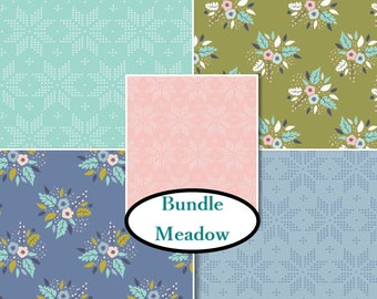 5 prints, Meadow, Camelot Fabric, flower, pink, 1 of each print