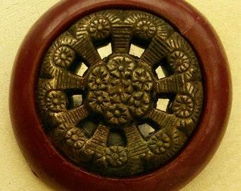 33mm, Button, Burgundy, Bronze, Celluloid, Antique Button, Vintage, High 11mm, Rod Button, Decorative Button, BM502