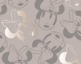END OF BOLT, Disney, Minnie, gray taupe, gold, 85270206, col 1, Minnie Mouse Refresh, Camelot Fabrics, , 100% Cotton
