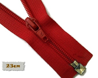 "SEPARABLE, 23cm, (9""), Red, Zipper, 7E Slider, Vintage, 1980, ZS01"