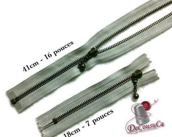 YKK, gray, fermetures éclair détachable, 41cm (16 po), non détachable, 18cm, (7po), laiton antique, no5, nylon, ZZ1