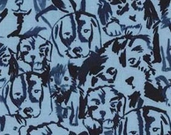 Dog, ocean blue, Michael Miller, CX7616, 100% Cotton