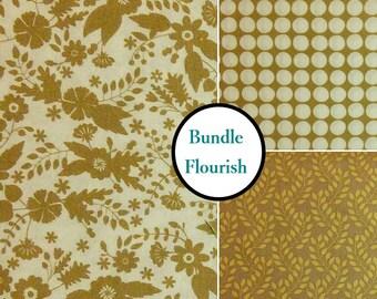 3 prints, Flourish, beige, Camelot Fabrics, Bundle, 1 of each print, 100% coton