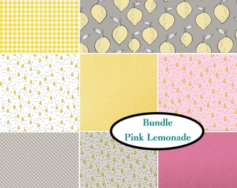 Kit 8 FE, 8 FQ,  8 X 1/4 yard or 8 X 1/2 yard, Pink Lemonade, choose your format, 1 of each print, Bundle
