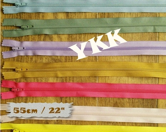 YKK, 55cm, 22 inchs, #3, vintage, 1980, varied color, nylon, perfect for wallets, clothing, repair, (Reg 1.70-11.90)