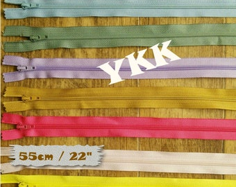 YKK, 1 zippers, 55cm, 22 inchs, #3, vintage, 1980, varied color, nylon, perfect for wallets, clothing, repair