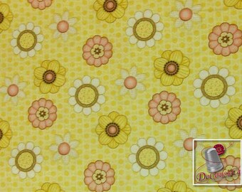 Let it Bee, by Shelly Comiskey, Henry Glass & Co, flower, multiple quantity cut in one piece, 100% Cotton, (Reg 3.99 - 17.99)