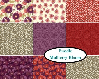 Bundle, 9 prints, Mulberry Bloom, Sara Berrenson, Camelot Fabrics, 100% Cotton, quilt cotton