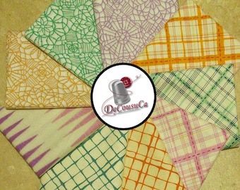 9 prints, Pastel, orange, turquoise, violet, Bundle, 1 of each print, 100% coton,
