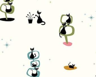 Black Cat, Cream, Mod Meow, 10280, Riley Blake, cotton quilt, cotton designer, (Reg 3.76-21.91)