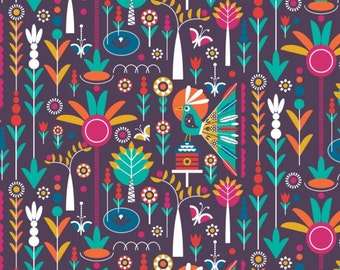 Birds of Paradise, plum, 28170101, col 01, Camelot Fabrics, 100% Cotton, (Reg 2.99-17.99)
