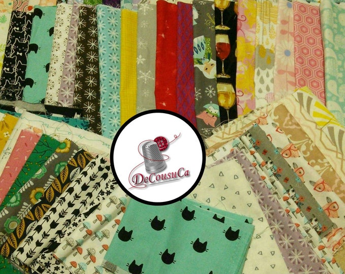 Featured listing image: 50 Scraps, FE, FQ,  1/4 yard and more, Cotton Designer, for small projects, quilting, photo by way of example,