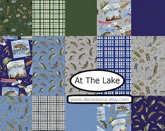 Bundle of 15 prints of fish 100% coton, variable sizes- At The Lake of Riley Blake Designs