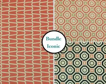 3 prints, Iconic, Camelot Fabrics, 2141004, salmon, navy, cream, geometric