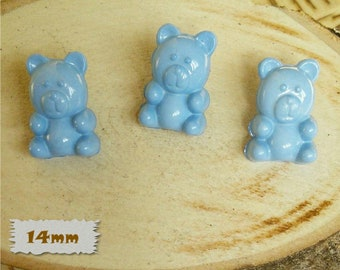 3 + 3 = 6 Buttons, Bear, BLUE, 14mm, Polyester, Casein, Vintage, 1980, Fancy Button, Solid Button, BF52