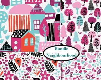 4 prints, Neighbourhood, Camelot Fabrics, 100% Cotton, (Reg 21.16 - 91.90)