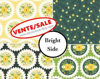 50%, Kit 4 prints, Bright Side, Camelot Fabrics, 1 of each print, Bundle, collection, (Reg 15.04-44.04)