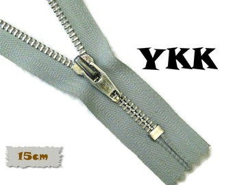 YKK, 15cm, Grey, Zipper, Cursor V, 6 Inch, Metal, Zipper, Non-Detachable, vintage, 1980, Z16