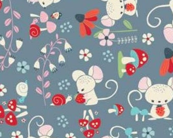Mouse, mushroom, blue-gray background, 61190301, col 02, Enchanted Forest, Camelot Fabrics, 100% Cotton