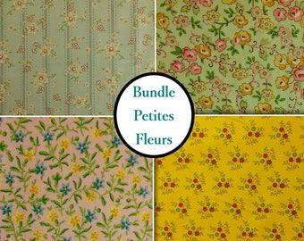 Kit 4 prints, Petites fleurs vintage, 100% coton, Windham Fabrics, 1 of each print