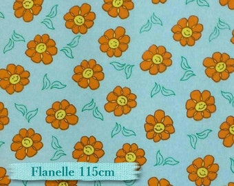 Flower orange, blue, flannel, cotton, Flannel 100% high quality cotton