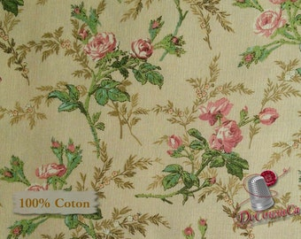 Flower, tan, Antebellum, Sara Morgan, Washington Street Studio, 26758, multiple quantity cut in one piece, 100% Cotton
