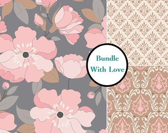 ON SALE, 3 prints, With love, Camelot Fabric, 1 of each print