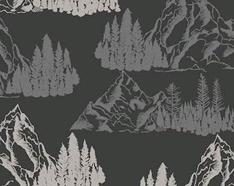 Mountains Pine Trees, Charcoal, Timberland, 10331, Riley Blake, cotton quilt, cotton designer, (Reg 3.76-21.91)