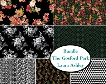 7 prints, 1 of each, The Gosford Park, Laura Ashley, Camelot Fabrics, cotton