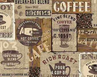 PACKED COFFEE SIGNS, 7984, Timeless Treasures, cotton, cotton quilt, cotton designer