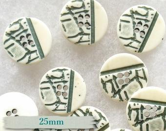 6 buttons, 25mm, 2 holes, cream & green, vintage, BM13