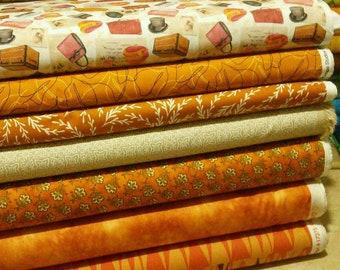 Bundle of 7 prints, Fabric orange, orange cotton, Bundle, 1 of each print