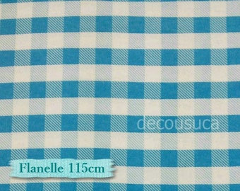 Flannel, Buffalo, plaid, white and turquoise, many yards will be cut as one continuous piece, 100% Cotton