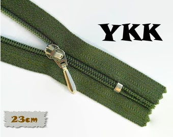 YKK, 23cm, Dark green olive, Zippers, Silver Metal Slider, 3C, Decorative Clasp, Non-Detachable, Z100