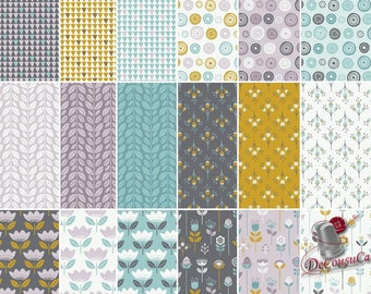 Bundle, 18 FQ, 1/4 yard, 1/2 yard, Fat Eighth Bundle,1 of each,Flower, Joséphine, Camelot Fabrics, 100% cotton