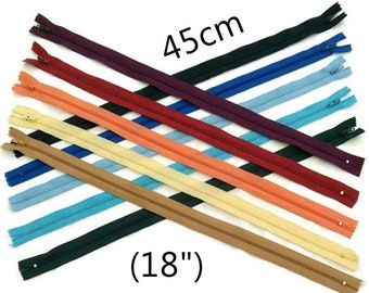 YKK, 45cm, zipper, #3, (18 inchs), varied color, nylon, perfect for wallets, clothing, repair, creation, Z46