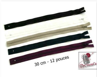 30cm, (Reg 1.50), zipper, 12 inchs, white, black, navy, beige, wine, perfect for wallets, clothing, repair, creation,